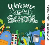 blackboard with greeting  first ... | Shutterstock .eps vector #683770657