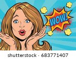 wow delight pop art woman face. ... | Shutterstock .eps vector #683771407