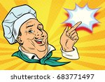 chef points his finger gesture. ... | Shutterstock .eps vector #683771497