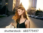 beautiful woman on urban... | Shutterstock . vector #683775457