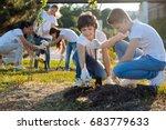 schoolchildren planting young...   Shutterstock . vector #683779633