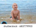 happy little boy having fun and ... | Shutterstock . vector #683779903