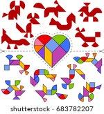 vector tangram heart  geometric ...   Shutterstock .eps vector #683782207