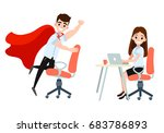 businesswoman and man character ... | Shutterstock .eps vector #683786893