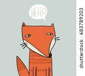 cute fox cartoon | Shutterstock .eps vector #683789203