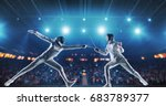two female fencing athletes... | Shutterstock . vector #683789377