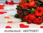 a beautiful bouquet of red...   Shutterstock . vector #683792857