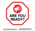 are you ready  vector badge... | Shutterstock .eps vector #683800903