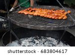 preparation bbq sausages on the ... | Shutterstock . vector #683804617