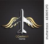 3d gold silver metal bird... | Shutterstock .eps vector #683805193