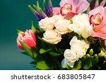 bouquet of tulips  roses ...   Shutterstock . vector #683805847