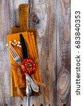 vintage set of cutlery knife ... | Shutterstock . vector #683840353