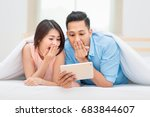 asian family watching tablet in ... | Shutterstock . vector #683844607