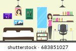 teenager room in the house.... | Shutterstock . vector #683851027