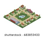 isometric map of small town or...   Shutterstock .eps vector #683853433