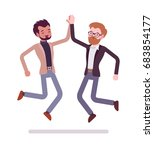 businessmen highfive jumping.... | Shutterstock .eps vector #683854177