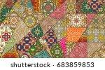 vector patchwork quilt pattern. ... | Shutterstock .eps vector #683859853