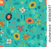 seamless floral pattern with...   Shutterstock .eps vector #683863657