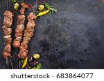 traditional russian shashlik on ... | Shutterstock . vector #683864077