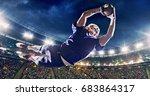 american football player jumps...   Shutterstock . vector #683864317