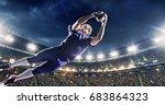 american football player jumps... | Shutterstock . vector #683864323
