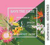 wedding card in tropical... | Shutterstock .eps vector #683867083