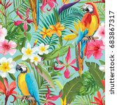 tropical flowers and parrots... | Shutterstock .eps vector #683867317