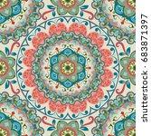 seamless vintage ornate mandala ... | Shutterstock .eps vector #683871397