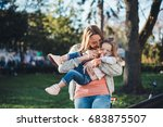 mom and daughter spend time... | Shutterstock . vector #683875507