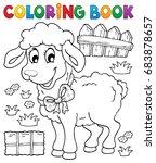coloring book sheep theme 3  ... | Shutterstock .eps vector #683878657