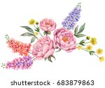 watercolor composition with... | Shutterstock . vector #683879863