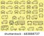 line drawing of simple car  ... | Shutterstock .eps vector #683888737