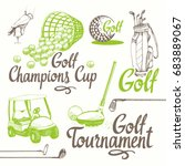 golf set with basket  shoes ... | Shutterstock .eps vector #683889067