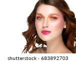 colorful makeup woman face ... | Shutterstock . vector #683892703