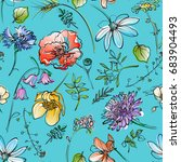 seamless floral background with ... | Shutterstock .eps vector #683904493