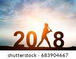 silhouette of softball player... | Shutterstock . vector #683904667