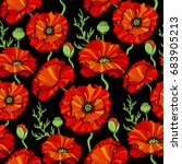 seamless pattern with red poppy ... | Shutterstock .eps vector #683905213