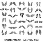 heraldic wings set for tattoo... | Shutterstock .eps vector #683907553