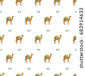 seamless pattern camel animal... | Shutterstock .eps vector #683914633