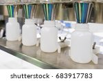 white plastic bottle on the... | Shutterstock . vector #683917783