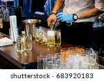 bartender hand pouring club... | Shutterstock . vector #683920183