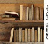 old books on wooden shelf.   Shutterstock . vector #683922817
