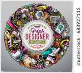cartoon vector doodles design... | Shutterstock .eps vector #683927113