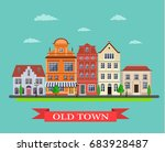 old town village main street.... | Shutterstock .eps vector #683928487