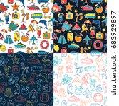 summer vocation pattern. vector ...   Shutterstock .eps vector #683929897