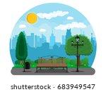 city park concept  wooden bench ... | Shutterstock .eps vector #683949547
