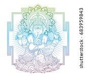 ganesha on throne outlines | Shutterstock .eps vector #683959843