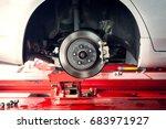 car brake part at garage car... | Shutterstock . vector #683971927