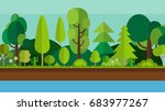 river and trees scene | Shutterstock . vector #683977267