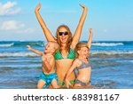 happy family lifestyle. young... | Shutterstock . vector #683981167